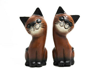 """2 Small Wooden Cats, 5"""" tall, Home & Office Decor, Cute Kitty - Hand Carved  NEW"""