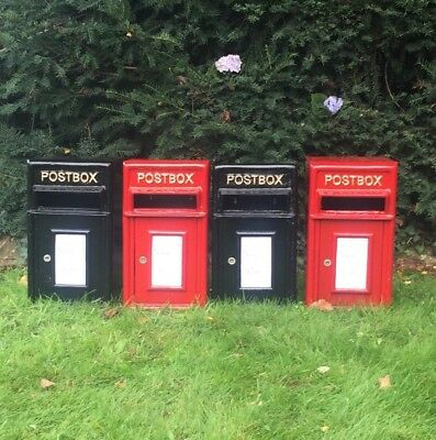 NEW DESIGN of Postbox Cast Iron Mail Letter Box Red and Black in Two Sizes