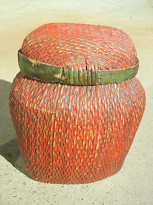 Rare Antique Chinese Willow Woven Basket with Lid Thick Red and Green Lacquer
