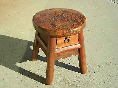 Rare Antique Chinese Wooden Small 4 Leg Stool with Drawer Round Seat