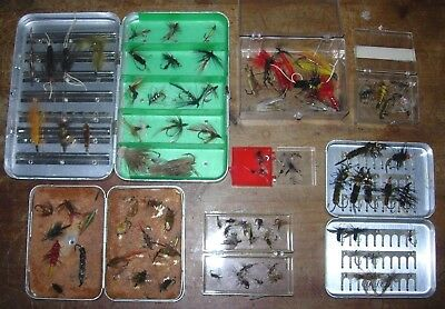 Vintage Lot 90 + Fly Fishing Lures With Perrine Flies Box Boxes