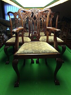 Antique ,old Boardroom / Dining Style Stand Chairs X 5 , Solid Mahogany