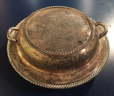 Vintage Silverplate Covered Vegetable Serving Bowl Scrolled Edge With 3 Sections