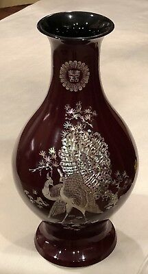 Korean Antique Mother Of Pearl Black Lacquer Brass Vase