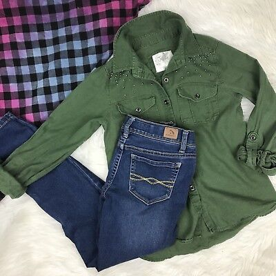 LOT Justice Jordache Girls Shirt Skinny Jeans Olive Green Top Stud OUTFIT 8 Slim