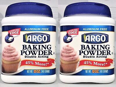 2 x Argo Double Acting Baking Powder 12 oz each Aluminum free~ FREE SHIPPING