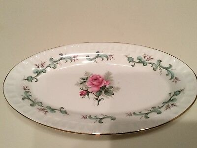 Vintage Staffordshire England Fine Bone China Oval Plate Pink Rose Many Uses