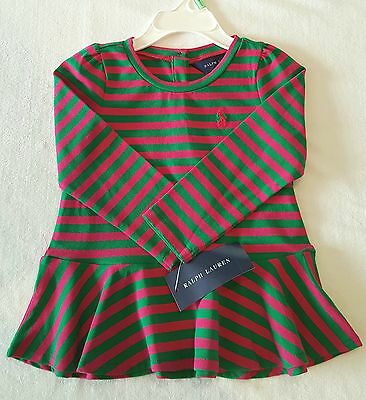 Brand New With Tag Polo Ralph Lauren Baby Girls Peplum Tee - Long Sleeves