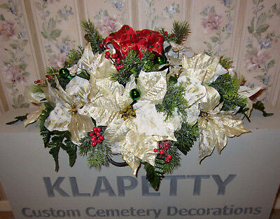 Gold & Ivory Christmas Flowers Memorial Cemetery Grave Headstone Saddle