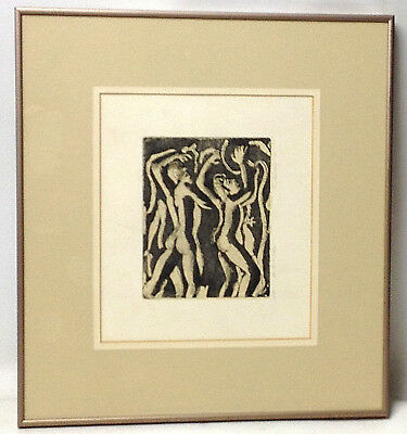 """Vintage Framed ETCHING by MURRAY K. '70 """"THE PEARL FISHERS"""" Greenhill Galleries"""