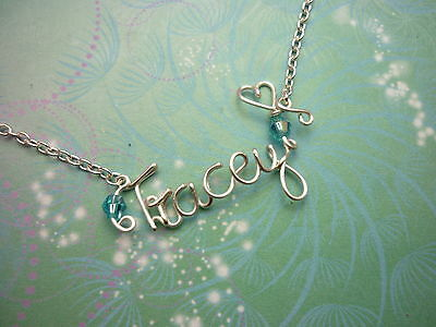 Personalised Name Necklace with Birthstones - Silver or Gold Wire a perfect gift