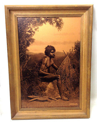Vintage Aboriginal Print Copper Lithograph Style Mid Century Art Work