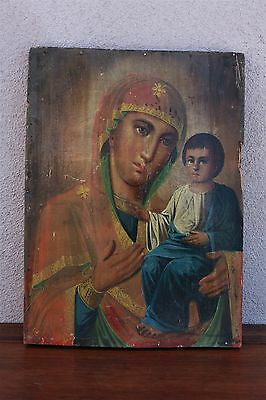 19th Century Russian Religious Icon, Our Lady of Kazan, Painting on Wood