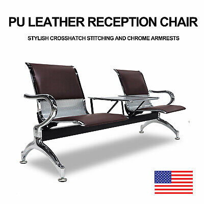 New Black PU Leather Airport Reception Waiting Chair Office Bench 2-Seat w/Table