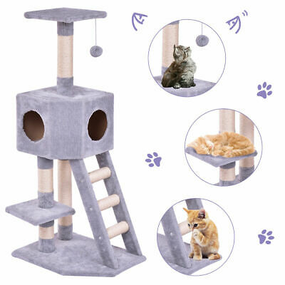 Pet Furniture Cat Tree Kitten Play House Tower Condo Scratch Post w Ladder Toy