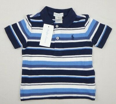 Ralph Lauren Baby Boys' Striped Cotton Polo Shirt Top sizes 12, 18, 24 month