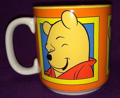 Disney Winnie the Pooh Bear Coffee Cup Mug Thinking Eating Honey Smiling