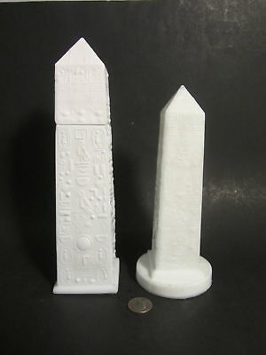 2 RARE Old GREENER English Milk Glass Egyptian Revival CLEOPATRAS NEEDLE Obelisk