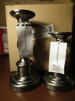New In Box Pewter Longaberger Candlestick Holders Set Of 2