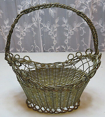 Vintage Collectible Solid Little Brass Basket Twisted Wire Gold plated China