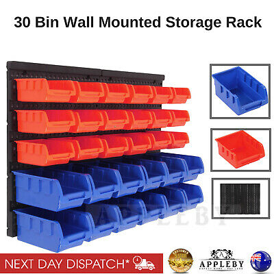 30 Bin Wall Mounted Storage Rack Shelf Organiser Nuts Bolts Garage Containers