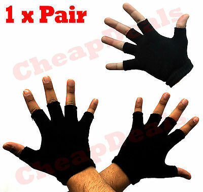 Mens Fingerless Cut Finger Thermal Knitted Winter Gloves Stretch Fit One Size