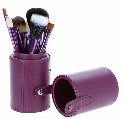 12 PCS Pro Makeup Brush Set Cosmetic Brush Kit Tool with Cup Leather Case Holder