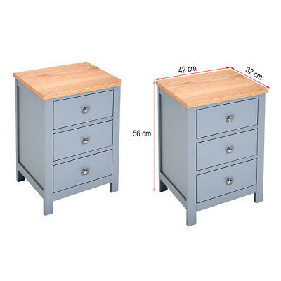 Pair of Painted Bedside Table with Solid Oak Top Bedside Cabinet with 3 drawers