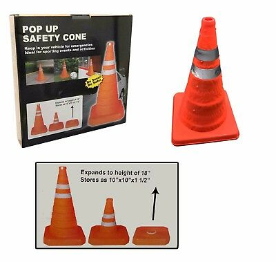 """18"""" Portable Pop Up Foldable Traffic Cone Multipurpose Driving Safety Warning"""