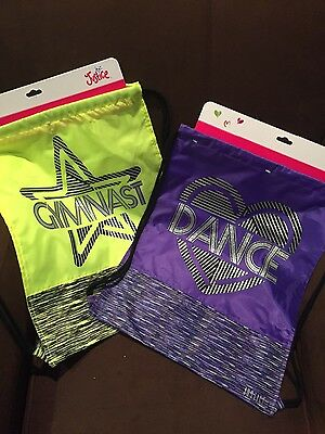 JUSTICE (GYMNAST or DANCE) DRAWSTRING TOTE BAG SPACE DYED GIRLS BACKPACK