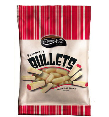 Darrell Lea White Chocolate Raspberry Bullets 200g x 14