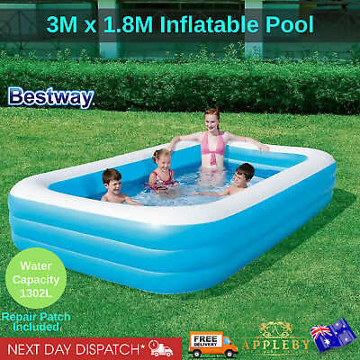 Bestway Inflatable Family Pool 3.05m x 1.83m Outdoor Family Kids Swimming Water