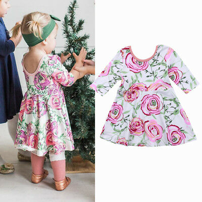 AU Stock Kids Baby Girl Toddler Floral Party Princess Pageant Casual Tutu Dress
