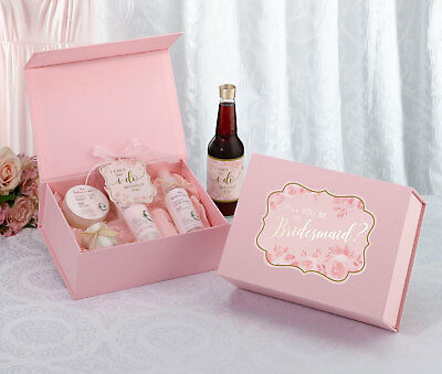 WILL YOU BE MY BRIDESMAID GIFT BOX pink gold bride bridal shower wedding favour