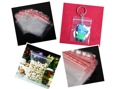 Durable 100pcs 5Sizes Zip Zipped Lock Reclosable Plastic Poly Clear Seal Bags