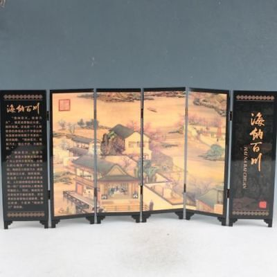 Chinese Lacquerware Handwork Ancient Busy Streets Screen