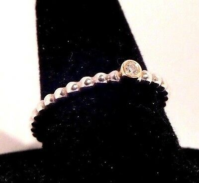 Authentic Pandora Evening Star Diamond 14K Gold Sterling Silver Ring Size 7.5 56