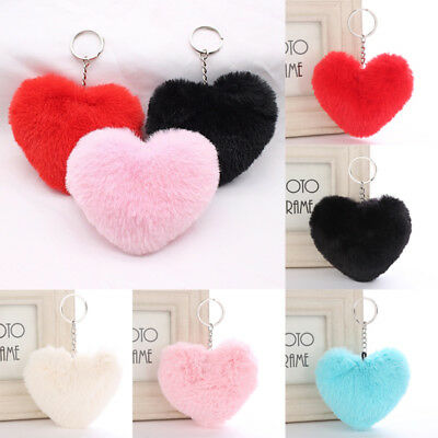 Women Pompom Fluffy Heart Keychain Faux Rabbit Fur Car Pendant Key Ring Jewelry