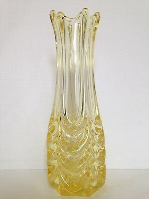 Retro Lemon Yellow Vintage Glass Vase Mid Century Design Murano Style