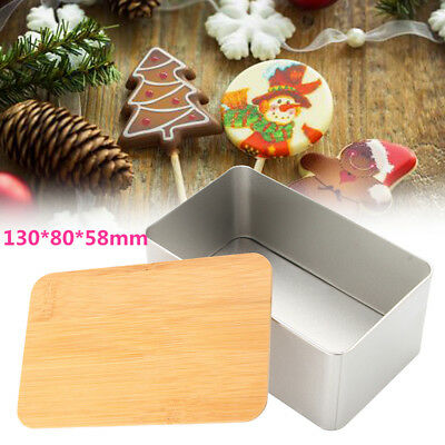 130x80x58mm Candy Tea Metal Storage Bin Biscuit Cookie Box Container Bamboo Lid