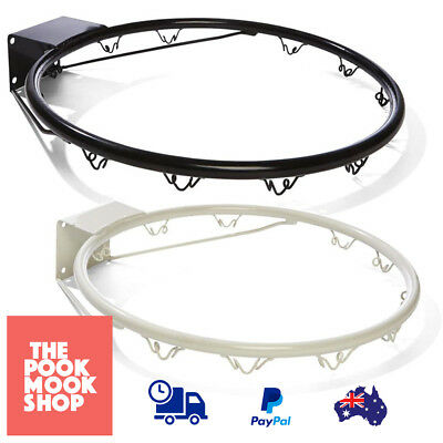 Ring Hoop Basketball Netball Wall Kids Oudoor Mounted Hanging Rim (Black, White)