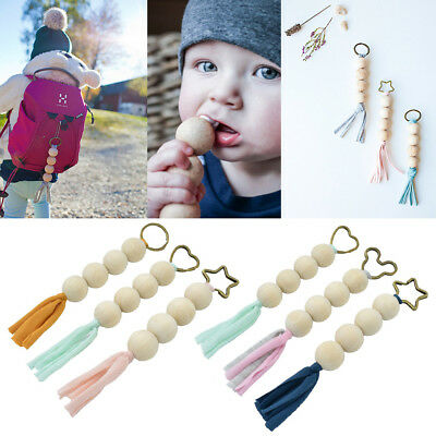 Wood Baby Teething Natural Tassels Key Ring Newborn Mom Teething Wooden Teether