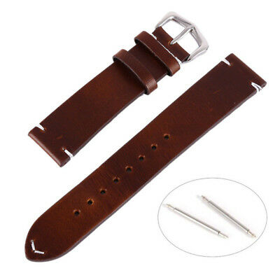 Oily Discolor Calf Leather Wrist Watch Band Strap Steel Buckle Belt 18-20-22mm