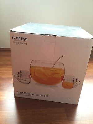 (Brand new) Full Set Of glass punch set - 6 glasses and 1 ladle & 1 big bowl.