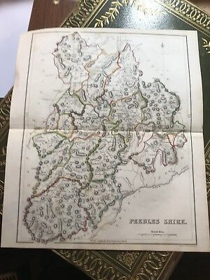 1845 Antique Colour Map of Peeblesshire / Scottish Borders / Scotland 10 x 8.5""