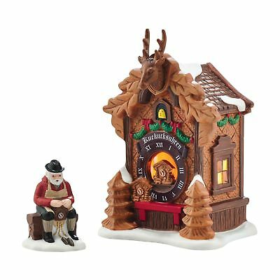 Department 56 Alpine Village Christmas Market Black Forest Clocks Lit Building