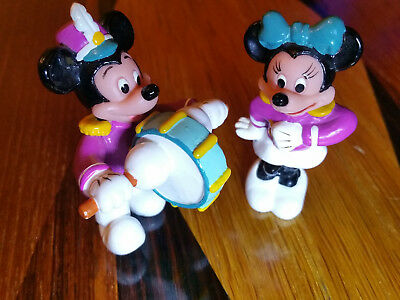 MICKEY & MINNIE MOUSE DISNEY FIGURES, PLASTIC, MARCHING BAND, PARADE, DRUM, 6cm