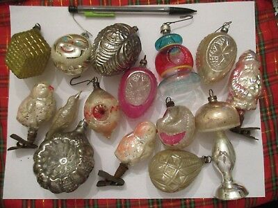 Vintage Lot of 15 Christmas Ornament Antique Glass Ball Germany Rare