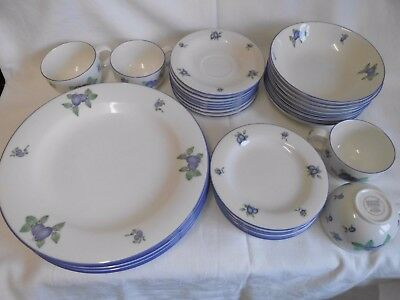Royal Doulton EVERYDAY 'Blueberry'DINNER & SIDE PLATES. BOWLS .CUP SAUCER.TC1204