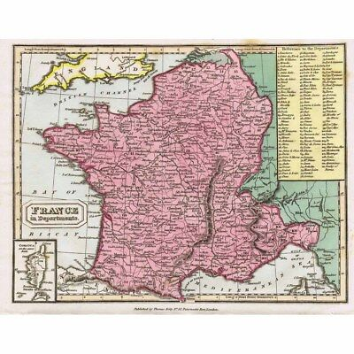FRANCE in Departments - Hand Coloured Antique Map 1826
